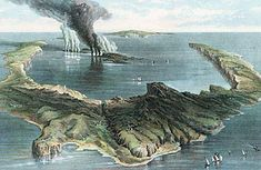 Thera (now Santorini) Greece. Some 3500 yrs ago, an event of cataclysmic proportions rocked the Mediterranean. The volcano exploded w/what is estimated at 4 to 5 times the eruptive force of Krakatoa in 1883, blowing a hole into the Aegean isle. The great seafaring Minoan civilization, the dominant Greek culture of the time, potentially withered away after clouds of ash enveloped its cities and great tsunamis waves smashed its fleets