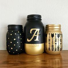 Black and gold Mason jar set with monogram | girl's room decor | arrows | polka dots