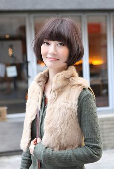 Cute Short Bob Hairstyle with Bangs