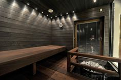 Tummasävyinen sauna Amerikan Tulipuusta. #sauna #lauteet #erikoispuuparkkinen #saunabenches Modern Saunas, Sauna Design, Sauna Room, Wellness Spa, Modern Lighting, Lighting Ideas, Dark Wood, Home And Living, Sweet Home