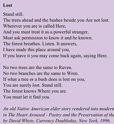 Love his poetry.  Reminder to spend more time at home in nature.  The forest knows where you are... | David Whyte