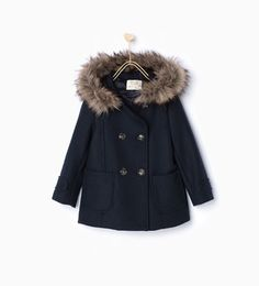 Image 1 of Buttoned duffle coat with hood from Zara