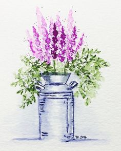 Try the milk jug tonight (I'm originally from Nebraska, that's what it's all about … - Art Painting Watercolor Pictures, Watercolor And Ink, Watercolor Flowers, Watercolor Painting Techniques, Watercolour Painting, Watercolours, Art Impressions Stamps, Milk Cans, Milk Jug
