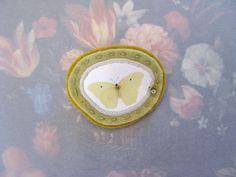 celery and mustard butterfly brooch - minimal green brooch - yellow butterfly - pin broach - delicate brooch - free shipping