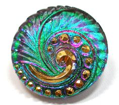 Peacock Czech glass BUTTON Emerald green & by OldeTymeNotions, $5.50