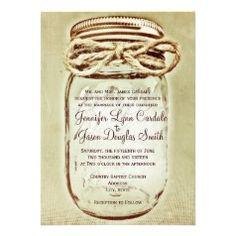 Mason Jar Rustic Country Wedding Invitations