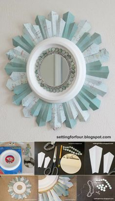 Beaded Sunburst Mirror Tutorial Home Decor you can make! - DIY Sunburst Mirror using a ceiling medallion with full instructions! for FourHome Decor you can make! - DIY Sunburst Mirror using a ceiling medallion with full instructions! for Four Diy Wand, Decor Crafts, Diy Home Decor, Diy Crafts, Paper Crafts, Home Decoration, Mirror Decorations, Diy Deco Rangement, Mur Diy