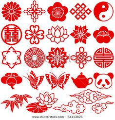 Illustration about Set of Chinese decorative icons. Illustration of icon, embroidery, oriental - 16821415 Chinese Icon, Chinese Element, Chinese Symbols, Chinese Art, Learn Chinese, Pattern Art, Pattern Design, Chinese Ornament, Impression Textile