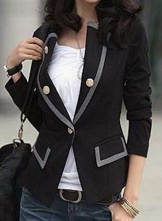 Cazadora doble bolsillos manga larga-Negro EUR€34.15