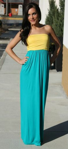 Beautiful dress! Yellow/Jade @ dottiecouture.com!