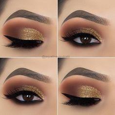 Preferred goldd deep eye make-up This i. - Preferred goldd deep eye make-up This image has get 1 repi - Cute Makeup, Perfect Makeup, Pretty Makeup, Makeup Looks, Easy Makeup, Creative Makeup, Awesome Makeup, Shimmer Eye Makeup, Smokey Eye Makeup