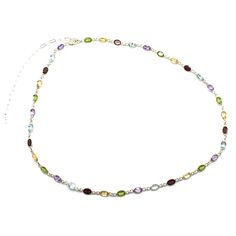 """Sparkles as an 18"""" Long Choker with a 5"""" Sterling Silver Chain Extender, and Sterling Bezels Surrounding Garnet, Citrine, Peridot, Amethyst and Aqua Marine Stones. Product #15-096"""