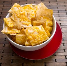 Cheddar Phyllo Crackers-really good! Great use for leftover phyllo! Even better with ranch mix in between layers too.