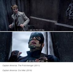 EVERY time I see it. He is just such an amazing character and GOSH how I wish that people in the real world acted more like Steve Rogers. Chris Evans Captain America, Marvel Captain America, Peggy Carter, Marvel Dc Comics, Marvel Avengers, Marvel Funny, Oh Captain My Captain, Bucky Barnes, The Villain