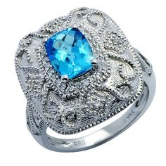 blue topaz, very unusual setting, really works well. Blue Topaz Diamond, Diamond Gemstone, Diamond Rings, Gemstone Rings, Swirl Design, White Gold Rings, Beautiful Rings, Ring Sizes, Gemstones