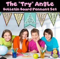 """Want to encourage your students to learn by encouraging them to keep trying?  This bulletin board/pennant set focuses on the """"try"""" angle!"""