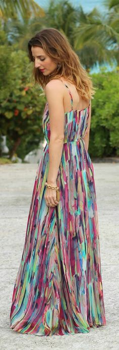 Stunning Watercolor Print Maxi