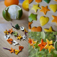 Citrus peel play shapes – Childsplayabc ~ Nature is our playground Christmas Time, Christmas Crafts, Christmas Decorations, Xmas, Holiday, Fruit Crafts, Lemon Crafts, Waldorf Crafts, Cut Out Shapes