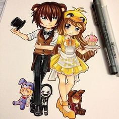Humanised FNAF chibis done! Freddy and Chica with plushies of Bonnie, Puppet and Foxy! #paigeeworld #fanart #chibi #anime