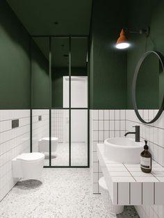 green bathroom Architect emildervish teamed up with evgeniibulatnikov to design Salon Odes in Odessa, Ukraine, whose minimalist bathroom combines bold Bad Inspiration, Bathroom Inspiration, White Bathroom, Small Bathroom, Bathroom Green, Bathroom Ideas, Mirror Bathroom, Modern Bathrooms, Bathroom Vanities