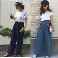 【送料無料】ハイウエストデニムワイドパンツ Women's Fashion, Pants, Style, Trouser Pants, Swag, Fashion Women, Womens Fashion, Women's Pants