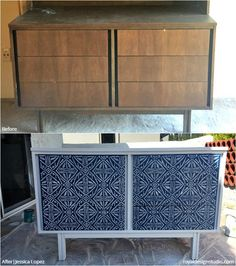 24 Before + After DIY Stencil Projects to Inspire! Modern Tribal Batik Style - Custom Painted Furniture Stencils and Chalk Paint from Royal Design Studio for Easy DIY Decorating and Painting Decor (project by Jessica Lopez)
