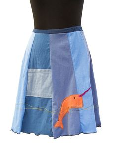 Upcycled recycled appliqué blue tshirt skirt by sardineclothing, $60.00
