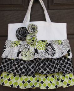 Glamour Girl Butterfly Ruffle Tote Bag by WickedlyCrafty on Etsy, $25.00