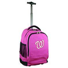 MLB Washington Nationals Premium Wheeled Backpack - Pink