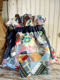 VINTAGE PATCHWORK Crazy Quilt BAG with Matching by TnBCdesigns