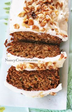 """9/1/13 Carrot-Zucchini bread (sans the icing.) Delish!! I would make one loaf in a 9"""" pan next time, instead of two 8"""" pans. I added a whole cup of walnuts. Only used half the oil, and made up the difference with applesauce. Great, hearty, breakfast bread!"""
