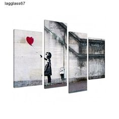 Banksy Canvas Ex Large Print Red Balloon Girl Wall Art Split 4 Panel Picture NEW
