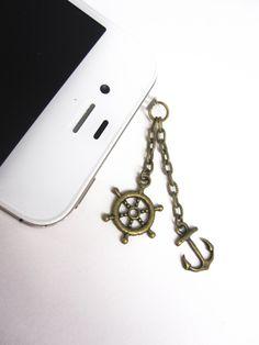 Summer Sailing - Bronze Anchor and Helm Charm Iphone Headphone Plug/Dust Plug