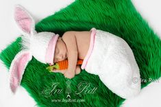 Rabbit Hat and Sleeping Bag with crochet Carrot for Newborn Baby READY to SHIP