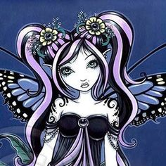 Gothic Angel, Gothic Fairy, Fairies Photos, Gothic Fantasy Art, Fairy Pictures, Pretty Pictures, Butterfly Fairy, Blue Butterfly, Barbie