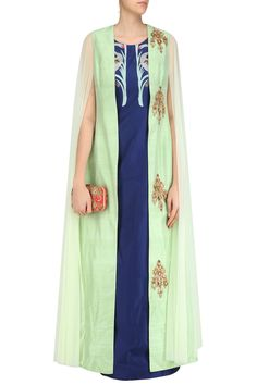 Navy blue long tunic wiith apple green floral motifs jacket available only at Pernias Pop Up Shop. #Rishi&Soujit#ethnic#shopnow #ppus #happyshopping