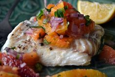 Grilled Halibut with Citrus Salsa ~ I could eat this healthy meal every day for the rest of my life ~ it's gluten free, low calorie, paleo, and Whole 30!