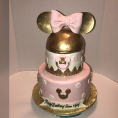 Inspired by Minnie Mouse Cake . Pink and gold.