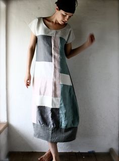 Linen Tunic dress in patchwork linen - grey and white. - perfect shape for sewing.