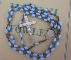 Beautiful Dainty Vintage Faceted Blue Satin Glass Bead Rosary  PatriciaInExcess S 413 by PatriciaInExcess on Etsy