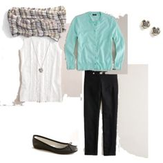 white & black with a colored cardi