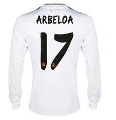 13 14 Real Madrid Manica Lunga Calcio Maglia   17 ARBELOA Maglia Bianca aac3143e6694b