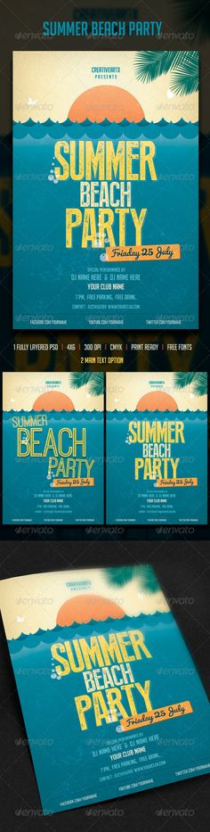 Summer Beach Party Flyer Tempalte #design Download: http://graphicriver.net/item/summer-beach-party/7908959?ref=ksioks