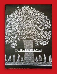 Primitive Folk Art, Tree Of Life Symbol, Art Wall, Madhubani Art, Naive Art, Tree Painting, Painting, Indian Folk Art, Madhubani Painting