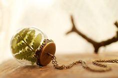 Forest fern necklace , real plant necklace , long locket pendant , terrarium jewellery , nature specimen , woodland wedding, moss green leaf...