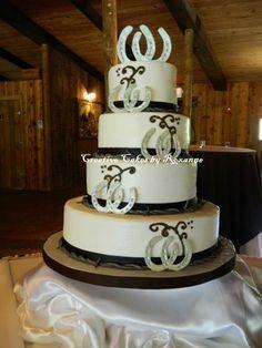 wedding cakes with horseshoes | Horseshoe Barbwire Wedding Cake Creative Cakes By Roxanne