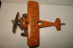 """Early Original 1920's Cast Iron """"Lindy"""" Lindbergh Airplane Great Original Paint"""