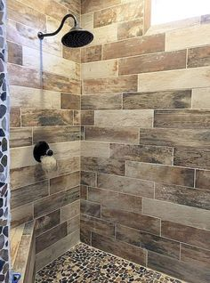 Find wall and floor tile options for your bath in a vast array styles, colors and finishes. Weather it's trending bath tile or shower tile. We've got what you need on 40 Beautiful Bathroom Shower Tile Design Ideas and Makeover. Shower Tile Designs, Rustic Bathroom Designs, Rustic Bathrooms, Diy Bathroom Decor, Bathroom Interior, Bathroom Ideas, Small Bathroom, Shower Ideas, Bathroom Showers