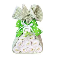 baby shower gift -- A bundle from the stork...10 pampers, one blanket, pacifier all tied up with a bow.  CUTE