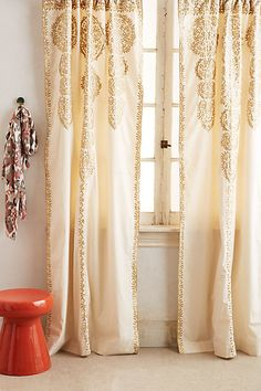 Marrakech Curtain #anthropologie Buy plain curtains and paint??